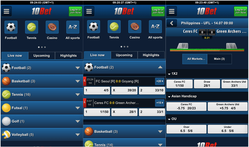 find the 10bet mobile app for betting online