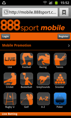 what are the 888sport android betting options