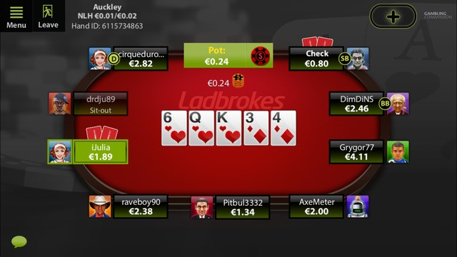 Ladbrokes Poker App Table
