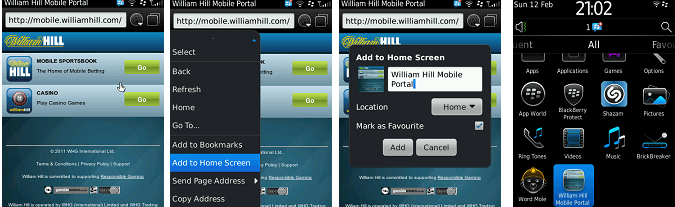 William Hill blackberry app