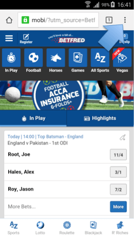 betfred android app pic
