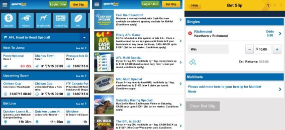 Screenshots for both Android and iOS versions of the Sportbets mobile app!