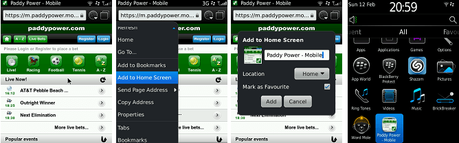 paddy power BlackBerry app