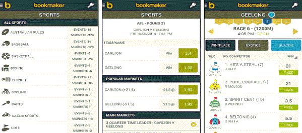 What does the application of Bookmaker.com.au look like?
