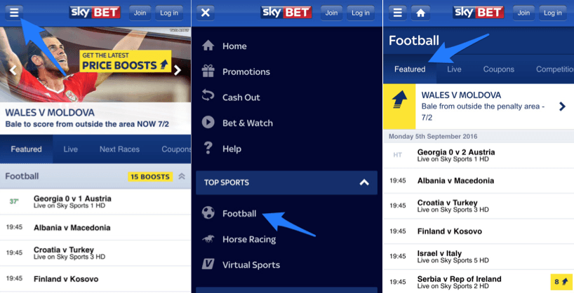 what can you do with the sky bet iphone app