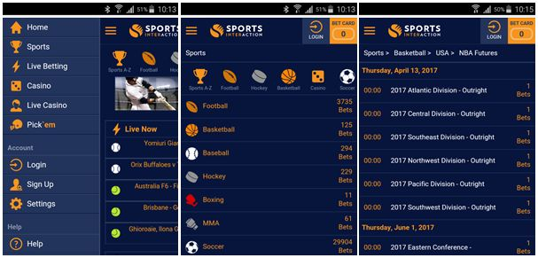 Check out the screenshots of the Sports Interaction application!