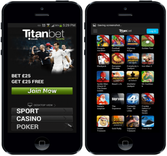 what are the layout and design of titanbet for android