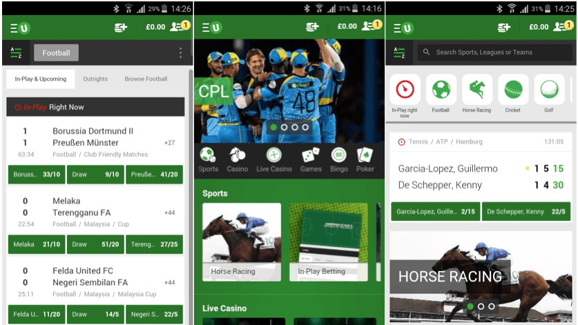 what does the unibet android app look like